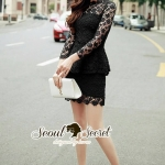 [พร้อมส่ง] เสื้อผ้าแฟชั่นเกาหลี งานสวยสไตล์สาวหวานแบบผู้ดี เซ็ทเสื้อมาพร้อมกับกระโปรงทรงสอบ สีดำ