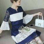 [พร้อมส่ง] เสื้อผ้าแฟชั่นเกาหลี เดรสลูกไม้ลุคสาวหวาน เนื้อผ้าลูกไม้นิ่มเกรดดีทอฉลุลายดอกสวยทั้งตัว