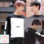 เสื้อแฟชั่นแขนยาว HBA EXO BTS สีดำ