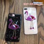 เคส iPhone 7 Plus (5.5 นิ้ว) พลาสติก TPU กากเพชรนกฟลามิงโกสวยงามมาก ราคาถูก