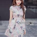 [พร้อมส่ง] เสื้อผ้าแฟชั่นเกาหลี เดรสพิมพ์ลายดอกไม้สีพาสเทลตกแต่งสไตล์จีน ทรงชุดน่ารักมากค่ะ เป็นเหมือนกี่เพ้าจีน