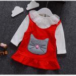 เสื้อ+ชุดกระโปรง สีแดง แพ็ค 4ชุด ไซส์ 6-8-10-12