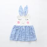 ชุดเดรสหูกระต่ายลายสก๊อตสีฟ้า [size 6m-1y-2y]