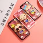 เคส iPhone 6s / iPhone 6 (4.7 นิ้ว) พลาสติกโปร่งใสขอบสีพาสเทลลายลิงน้อยแสนน่ารัก พร้อมแหวนสำหรับตั้ง ราคาถูก (ไม่รวมสายคล้อง)