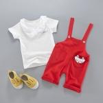 ชุดเซตเอี๊ยม mini สีแดงพร้อมผ้าพันคอ [size 6m-3y]