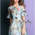 [พร้อมส่ง] เสื้อผ้าแฟชั่นเกาหลี เดรสสไตล์วินเทจโทนสีฟ้า มีซับในในตัวใส่สบายผิว ช่วงแขนยาวระดับศอกบานช่วงปลายนิดๆ