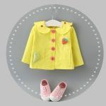 เสื้อคลุมสีเหลืองแต่งสตรอเบอรี่ที่หน้าอก [size 6m-1y-2y-3y]