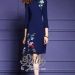 [พร้อมส่ง] เสื้อผ้าแฟชั่นเกาหลี เดรสสั้นลุคเรียบหรู เนื้อผ้าcotton+polyesterเกรดดี ปักลายดอกไม้ดอกสวยละเอียดแน่น ดีเทลแขนยาวห้าส่วน