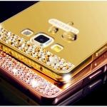 เคส Samsung Galaxy A7 แบบประ 2 ชิ้น ขอบเคสโลหะ Bumper + พร้อมแผ่นฝาหลังเงางามประดับคริสตัลสวยจับตา ราคาถูก