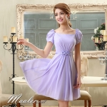 Pre-order ชุดราตรีสั้น สีม่วง Lavender แขนตุ๊กตามีโบว์ ผ้าชีฟอง แบบสวยหวาน เพิ่มดอกช่วงเอว