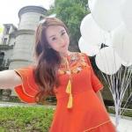 [พร้อมส่ง] เสื้อผ้าแฟชั่นเกาหลี Mini dress สไตล์สาวหวาน งานแบรนด์ดัง แขนบานเล็กแต่งระบาย 2 ชั้น พร้อมแต่งขอบ ช่วงกระโปรงก็แต่งขอบกุ๊น