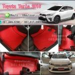 ยางปูพื้นรถยนต์เข้ารูป Toyota Yaris 2016 กระดุมสีแดงขอบดำ