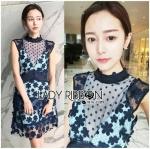 [พร้อมส่ง] เสื้อผ้าแฟชั่นเกาหลี เดรสจากแบรนด์Self-Portraitเป็นผ้าลูกไม้สีกรมท่าทอลายดอกไม้สุดหรู