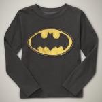 GP107 baby Gap เสื้อผ้าเด็ก เสื้อยืดแขนยาว เนื้อนุ่ม สีดำ (โทนสีตุ่นออกอมน้ำตาลนิดๆ) สกรีน Batman Size 18M