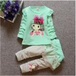 เสื้อ+กางเกง สีเขียว แพ็ค 4ชุด ไซส์ 70-80-90-100 (เหมาะสำหรับ 1-4ขวบ)