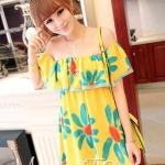[พร้อมส่ง] เสื้อผ้าแฟชั่นเกาหลี เดรสแฟชั่นเกาหลี ผ้า Pearl Chiffon เกาะอก แบบสวม โทนสีเหลือง