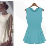 [พร้อมส่ง] จั้มสูทแฟชั่นเกาหลี cherry dress ชุดเอี้ยมกางเกงขาสั้น สีฟ้าอมเขียว ผ้าไหมชีฟองเนื้อแน่น ซิปหลัง ท่อนล่างเป็นกางเกง แต่งกระโปรงคลุมนอกเย็บประดับซิป ตามภาพ สวยจ้า