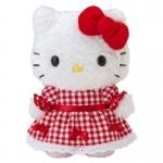 ตุ๊กตาเฮลโหลคิตตี้ ชุดกระโปรงลายสก็อตแดง Hello Kitty family stuffed (Kitty) 18cm