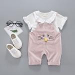 ชุดเซตเอี๊ยมลายหน้าแมวสีชมพู [size 6m-1y]
