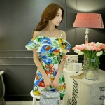 [พร้อมส่ง] เสื้อผ้าแฟชั่นเกาหลี ชุดเดรสไปงาน ออกงาน ลายดอกสีสันสดใส หวานๆ ด้วยชายระบายช่วงอก