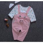 เสื้อ+เอี๊ยมกางเกง สีชมพู แพ็ค 4ชุด ไซส์ 5-7-9-11