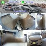 ยางปูพื้นรถยนต์เข้ารูป Toyota Vios 2012 กระดุมสีน้ำตาลขอบครีม