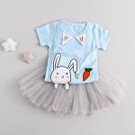 ชุดเซตเสื้อกระโปรงลายกระต่ายสีฟ้า [size 6m-1y-3y]
