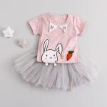 ชุดเซตเสื้อกระโปรงลายกระต่ายสีชมพู [size 6m-1y-2y-3y]