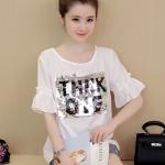 [พร้อมส่ง] เสื้อผ้าแฟชั่นเกาหลีราคาถูก เสื้อแฟชั่นเกาหลี ผ้า Pearl Chiffon ไม่มีซับใน แบบสวม สีขาว