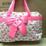 กระเป๋าผ้าใส่ของ สีชมพู ขาว น่ารัก ขนาด 10x25x44cm เหลือ 1 ใบ