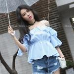 [พร้อมส่ง] เสื้อผ้าแฟชั่นเกาหลีราคาถูก เสื้อแฟชั่นเกาหลี ผ้าฝ้ายลายสก๊อต สายเดี่ยว จั้มใต้หน้าอก แบบสวม สีฟ้า
