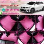 ยางปูพื้นรถยนต์เข้ารูป Toyota Yaris 2016 จิ๊กซอร์สีชมพูขอบชมพู