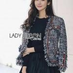 [พร้อมส่ง] เสื้อผ้าแฟชั่นเกาหลี แจ๊กเก็ตผ้าทวีดสีดำตกแต่งแถบสีแดง ตัวนี้ใส่แล้วดูดีมากคลุมชุดอะไรก็ได้
