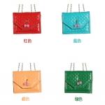 กระเป๋าถือหนังลายตาราง [สี ฟ้า-แดง-ส้ม]