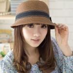 [พร้อมส่ง] H6009 หมวกสานคาดริบบิ้น แต่งโบด้านข้าง ทรง Pot สไตล์ญี่ปุ่น