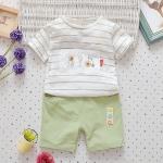 ชุดเซตเสื้อลายขวางสีขาว กางเกงเขียว [size 6m-1y-3y]
