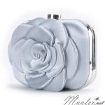 พร้อมส่ง Evening Clutch กระเป๋าออกงาน สีเทา สวยหวาน รูปดอกกุหลาบ 3 มิติ (พร้อมสายโซ่สั้นและยาว)