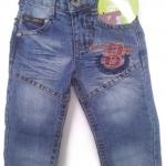 J11074 กางเกงยีนส์เด็กชาย ขายาว ดีไซส์ลายปักเท่ห์ ปรับเอวได้ Size 1-3 ขวบ