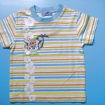 LES060 LES ENPhANTS - Disney Baby เสื้อผ้าเด็กหญิง เสื้อยืดแขนสั้น ลายริ้วสลับสี พิมพ์ลายดอกชบา Mickey & Minnie Size 6 เดือน
