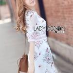 [พร้อมส่ง] เสื้อผ้าแฟชั่นเกาหลี Lady Ribbon's Made เดรสผ้าคอตตอนปักลายสไตล์สมาร์ทเฟมินีน ทั้งตัวเป็นผ้าคอตตอนสีขาวเนื้อโปร่งบาง