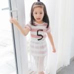 ชุดเซตเลข 5 ลายขวางสีชมพู [size 2y-3y-4y-5y-6y]