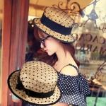 [พร้อมส่ง] H3544 หมวกสานทรงเค้ก ปีกสั้น แต่งด้วยตาข่ายลายจุดสีดำ และริบบิ้น สวยหวาน Boater Hat