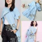 [พร้อมส่ง] เสื้อผ้าแฟชั่นเกาหลี เสื้อคลุมสไตล์แบรนด์ดัง เนื้อผ้าpolyester+silkหนา บุซับในอย่างดีค่ะ ดีเทลแขนสั้น