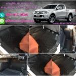 พรมปูพื้นในรถยนต์ Mitsubishi Triton Cab All New ลายกระดุมสีดำขอบดำ