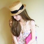 [พร้อมส่ง] H5464 หมวกสาน ปีกสั้น ทรงขนมเค้ก Boater Hat แต่งด้วยริบบิ้นผ้า สไตล์สาวญี่ปุ่น Japan Girl