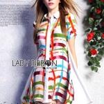 [พร้อมส่ง] เสื้อผ้าแฟชั่นเกาหลี Lady Ribbon's Made เชิ้ตเดรสแขนสั้นพิมพ์ลายทางสก็อตสีสันสดใส