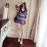 [พร้อมส่ง] เสื้อผ้าแฟชั่นเกาหลี มินิเดรสไหมพรมลายริ้วสลับสี สีสันสวยเด่น ตรงปลายเสื้อ และ แขน แต่งขาดเก๋ๆ งานสวยใส่สบาย ดูเด่นคะ