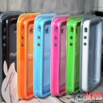 case iphone 5 เคสไอโฟน5 ขอบเคส Bumper ซิลิโคนสีสด มีปุ่มกดสีเงิน