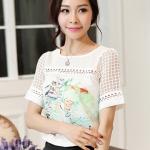 [พร้อมส่ง] เสื้อผ้าแฟชั่นเกาหลีราคาถูก เสื้อแฟชั่นเกาหลี ผ้า Pearl Chiffon ติดกระดุมด้านหลัง 1 เม็ด แบบสวม สีขาว