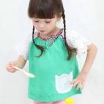 เสื้อแขนสั้นแต่งกระเป๋าสีเขียว [size: 2y-3y-5y]